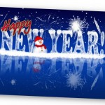 Happy New Year In Ice Eff Greeting Cards