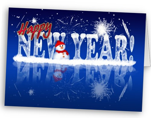 New Year Greeting Card - Happy New Year In Ice Eff card