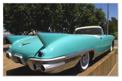 Elvis Presley's Green Cadillac Convertible in photoenlargement