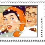 Vintage Winter Graphic Postage Stamp