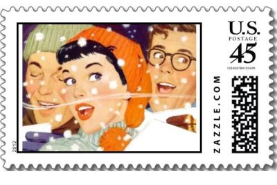 The Kitsch Bitsch: Vintage Winter Graphic Postage Stamp