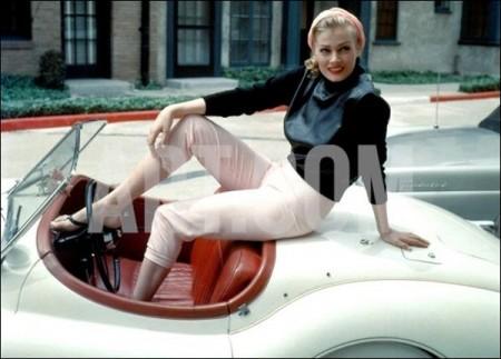 Anita Ekberg on Her Jaguar in Late 1950s