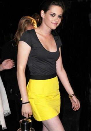 Kristen Stewart pairs flirty mini-skirt with blazer